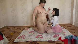 Young bbw lesbians having fun with butter and great dildos