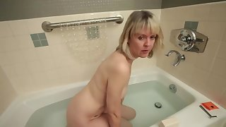 Let's me watch her bath and masturbate