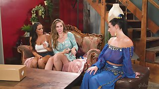 after sensual dance Angela White and Lena Paul enjoy pansy threesome