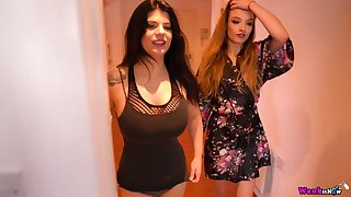 Two bodacious busty milfs are undressing and touching often succeed