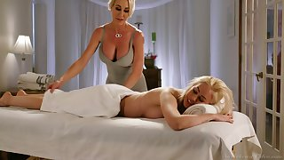 MILF masseuse Brandi Hallow surprises her client with some happy ending