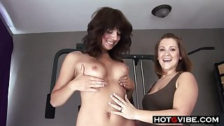 Sexy lesbians fuck each other with a strap heavens dildo