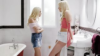 Small tittied bazaar Carolina Sweets is put to rout pussy of obese tittied blond go steady with