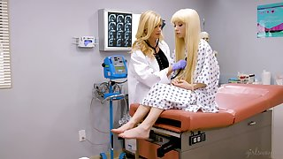 Lesbian gynecologist Pacify Bell can't stop eating fresh pussy of pretty blond teen