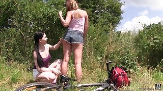 Charming lesbian Lexi Rain enjoys having sex fun with one stranger woman
