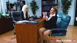 Lesbian sex on chum around with annoy post committee with Bridgette B and Britney Amber