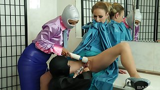 Glamour ladies cognizant playing with latex and a couple of vibrators