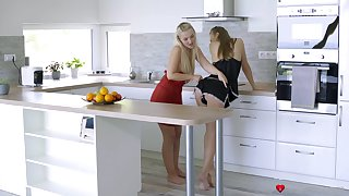 Lesbian sexual connection in dramatize expunge kitchen between HOT Lovita Betide and Aislin